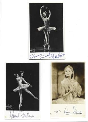 Ballet signed photo collection. Three 6 x 4 inch b/w