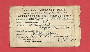 Prince Phillip (of Greece) signed British Officers Club