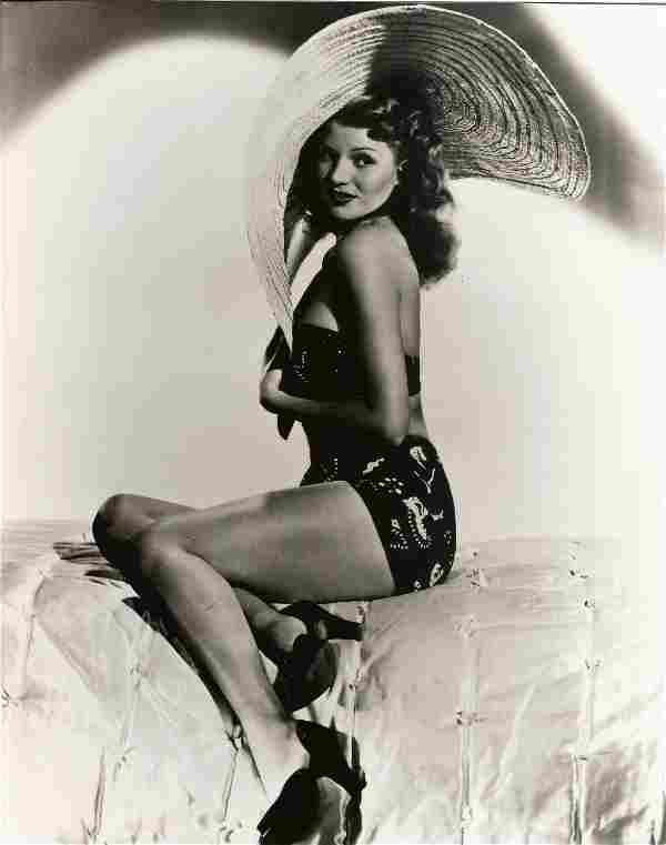 Rita Hayworth vintage signed autograph album page with