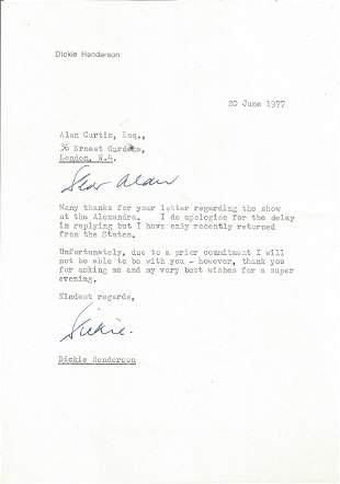 Dickie Henderson TLS dated 20th June 1977. Henderson