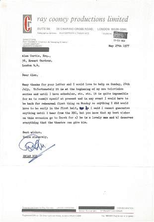 Brian Rix TLS on headed paper, dated 27th May 1977, Rix