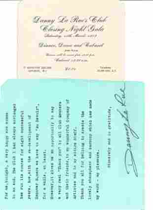Danny La Rue Nightclub members ticket, menu and note