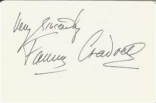 Fanny Craddock signed 4 x3 cream card. Good condition.
