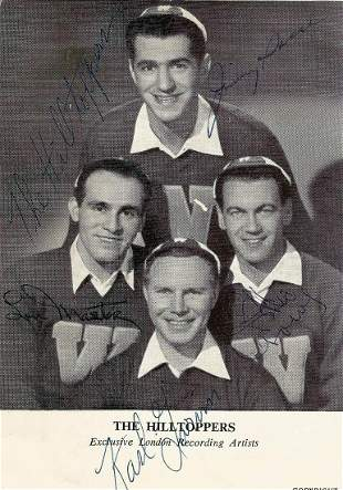 The Hilltoppers Band signed 6x4 music card. Signed by