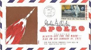Astronauts Gordon Fullerton signed Apollo 14 FDC. Stamp