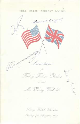 Henry Ford II and Stanford Cooper plus 2 others signed