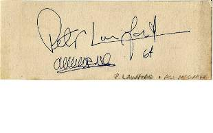 Peter Lawford and Ali McGraw signes small 4 x 2 inch