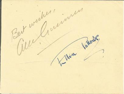 Alec Guinness signed album page. Good condition. All