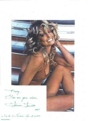 Farah Fawcett signed card with 10x8 colour photo. Good