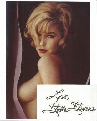 Stella Stevens signed card with 10x8 colour photo. Good