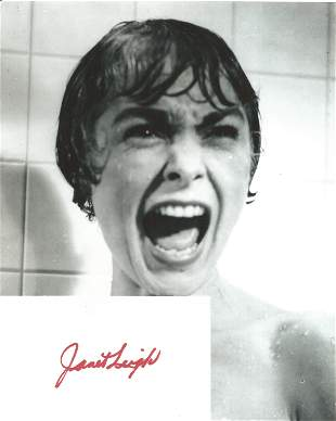 Janet Leigh signed card with 10x8 black and white
