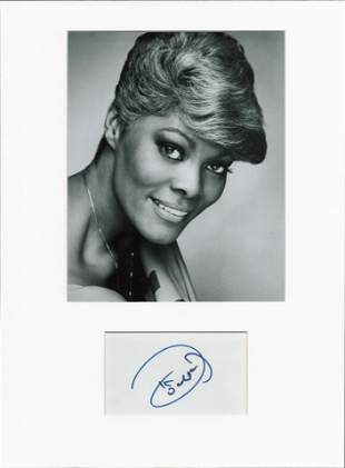 Dionne Warwick signed card piece. Mounted with