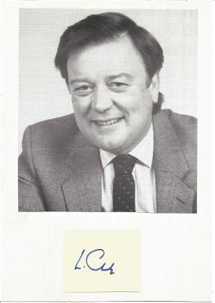 Kenneth Clarke Politician Signed Card With Photo. Good