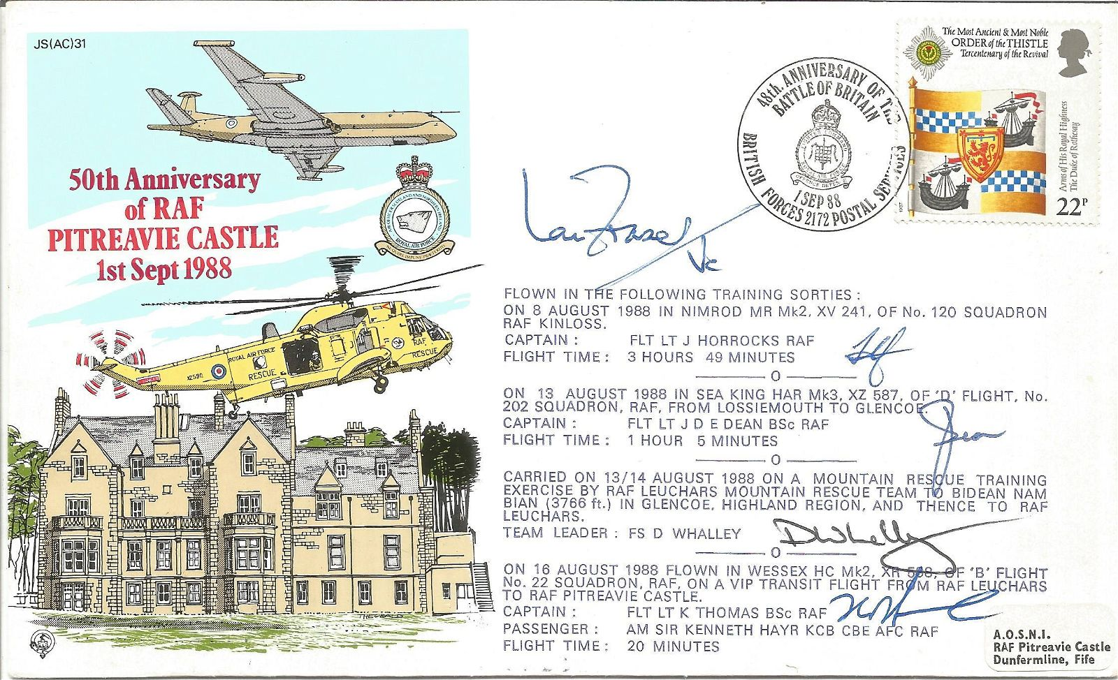 RAF Battle Of Britain First Day Cover Signed By 5 Ian