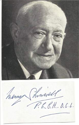 Manny Shinwell(1884 1996) Politician Signed Card With