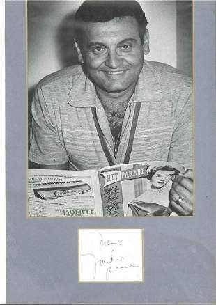 Frankie Laine (1913 2007) Singer Signed Card With 8x13