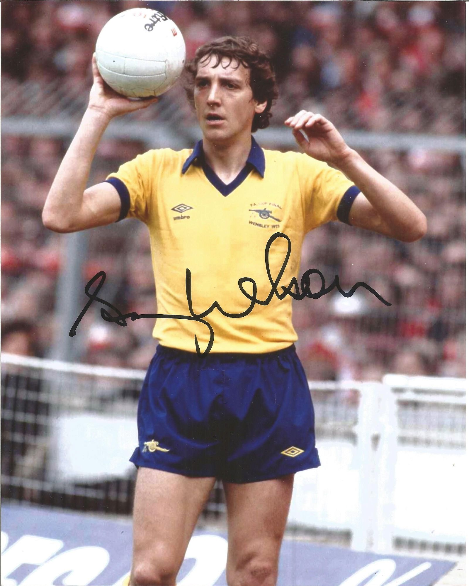 Sammy Nelson Signed Arsenal Fa Cup Final 8x10 Photo.