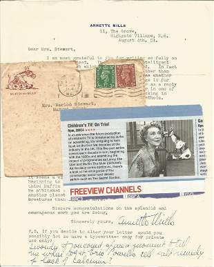 Annette Mills TLS dated 4/8/51 along with original