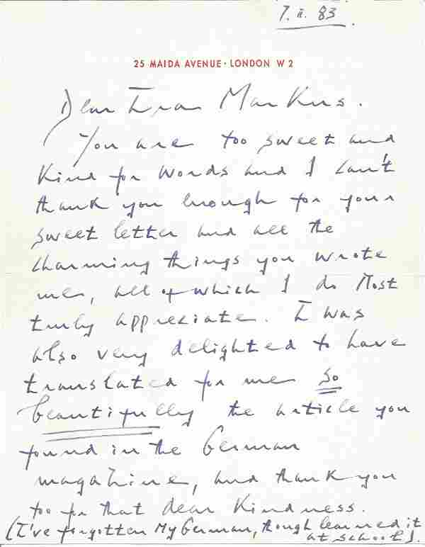 Edward Fox ALS dated 7/11/83 thanking the recipient for