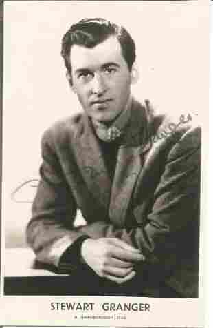 Stewart Granger signed 6x4 black and white photo. Good
