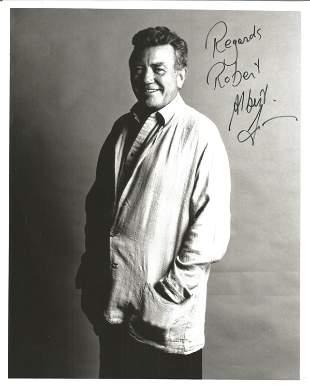 Albert Finney signed 10x8 black and white photo. Good