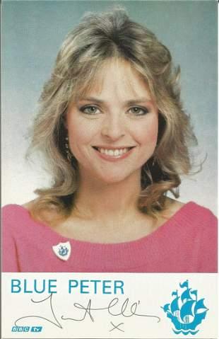 """Janet Ellis. TV presenter. Signed 6"""""""" by 4"""""""" Blue Peter"""