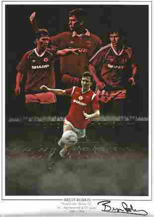 Bryan Robson signed 12x8 colourised montage photo. Good