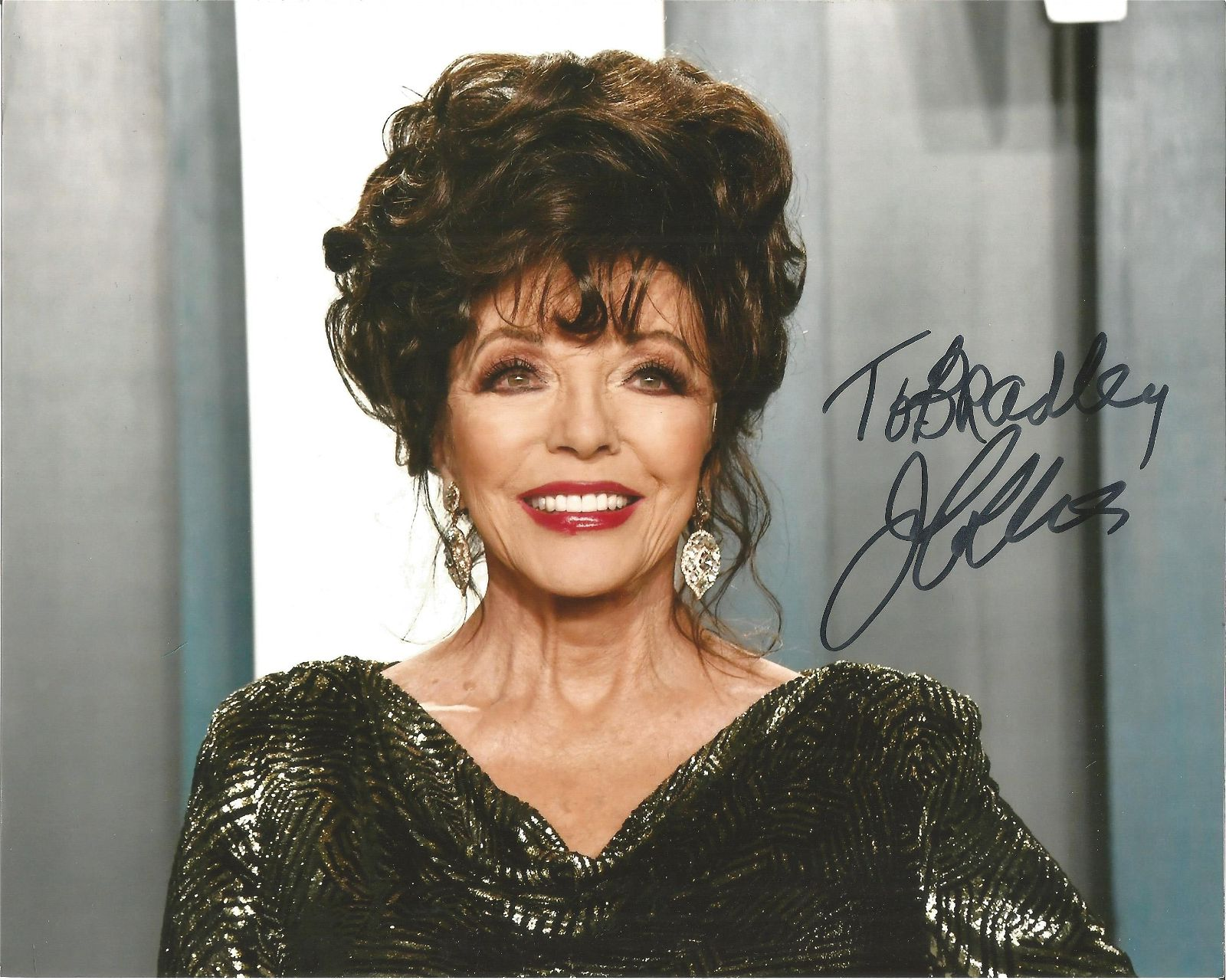 Joan Collins signed 10x8 colour photo. Dedicated. Good