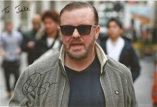 Ricky Gervais signed 12x8 colour photo. Dedicated. Good