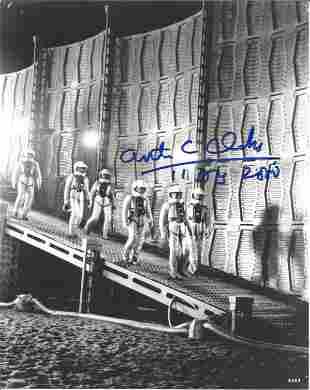 Arthur C Clarke signed 10x8 black and white photo. Good