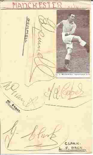 Multi signed Man City album page from 1945/46.