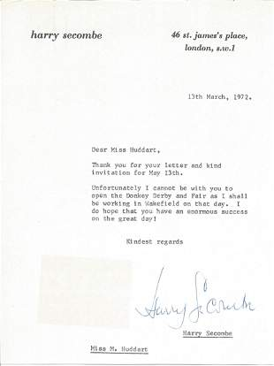 Harry Secombe TLS dated 13/3/72 replying to invitation