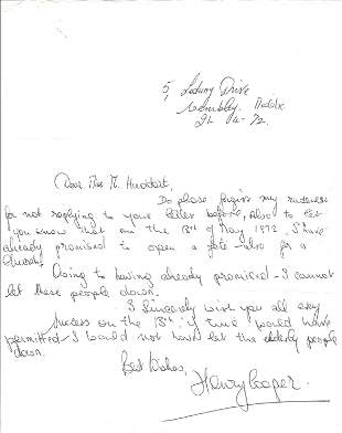 Henry Cooper ALS dated 21/4/72 replying to invitation