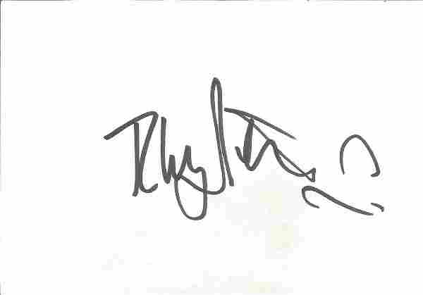 Rhys Ifans Signed 6x4 White Card With 10x8 Colour