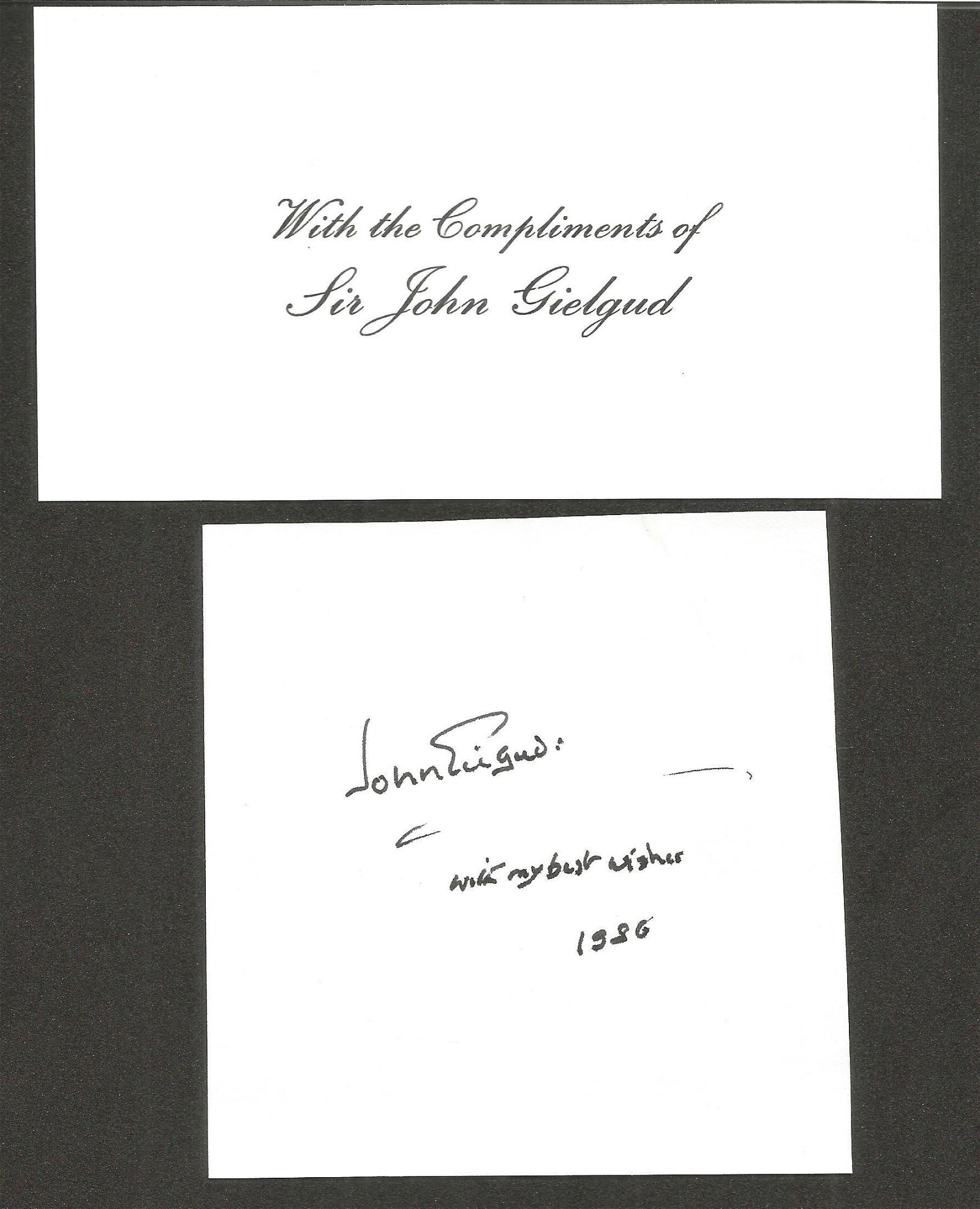 Sir John Gielgud small signature piece. Good condition.