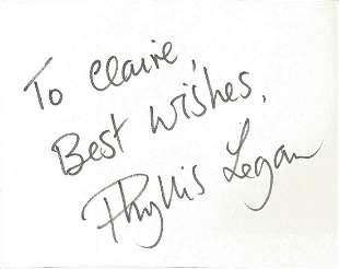 Phyllis Logan signed album page. Dedicated. Good