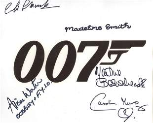 007 James Bond multi signed 8x10 photo signed by FIVE