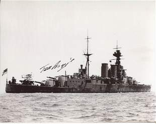 HMS Hood. 8x10 inch photo hand signed by Ted Briggs,