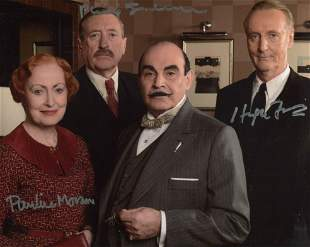 Poirot cast signed photo 8x10 photo signed by Hugh