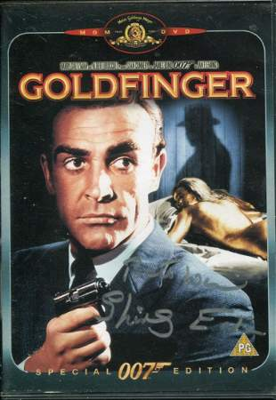 007 James Bond movie Goldfinger on DVD, signed to the