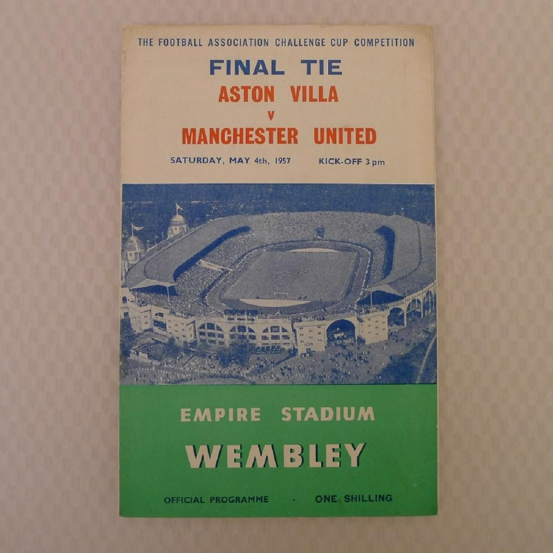 Vintage football programme. FA Cup Final 1957 - Aston