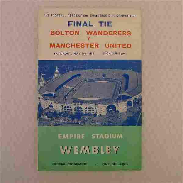 Vintage football programme. FA Cup Final 1958 - Bolton