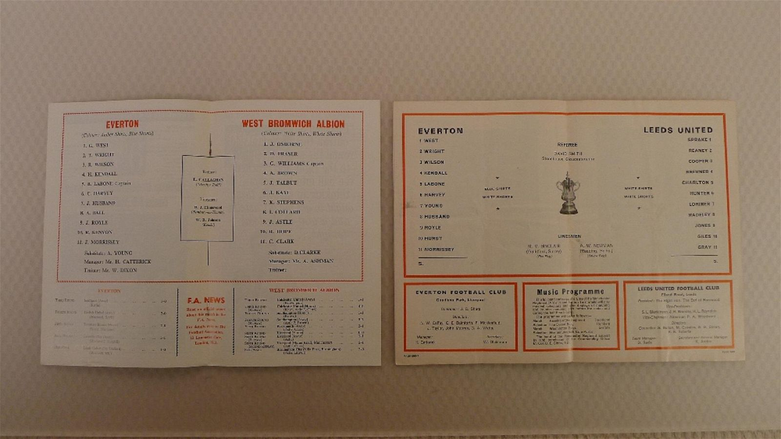 FA Cup football programmes FA Cup 1968 1 x Final and 1
