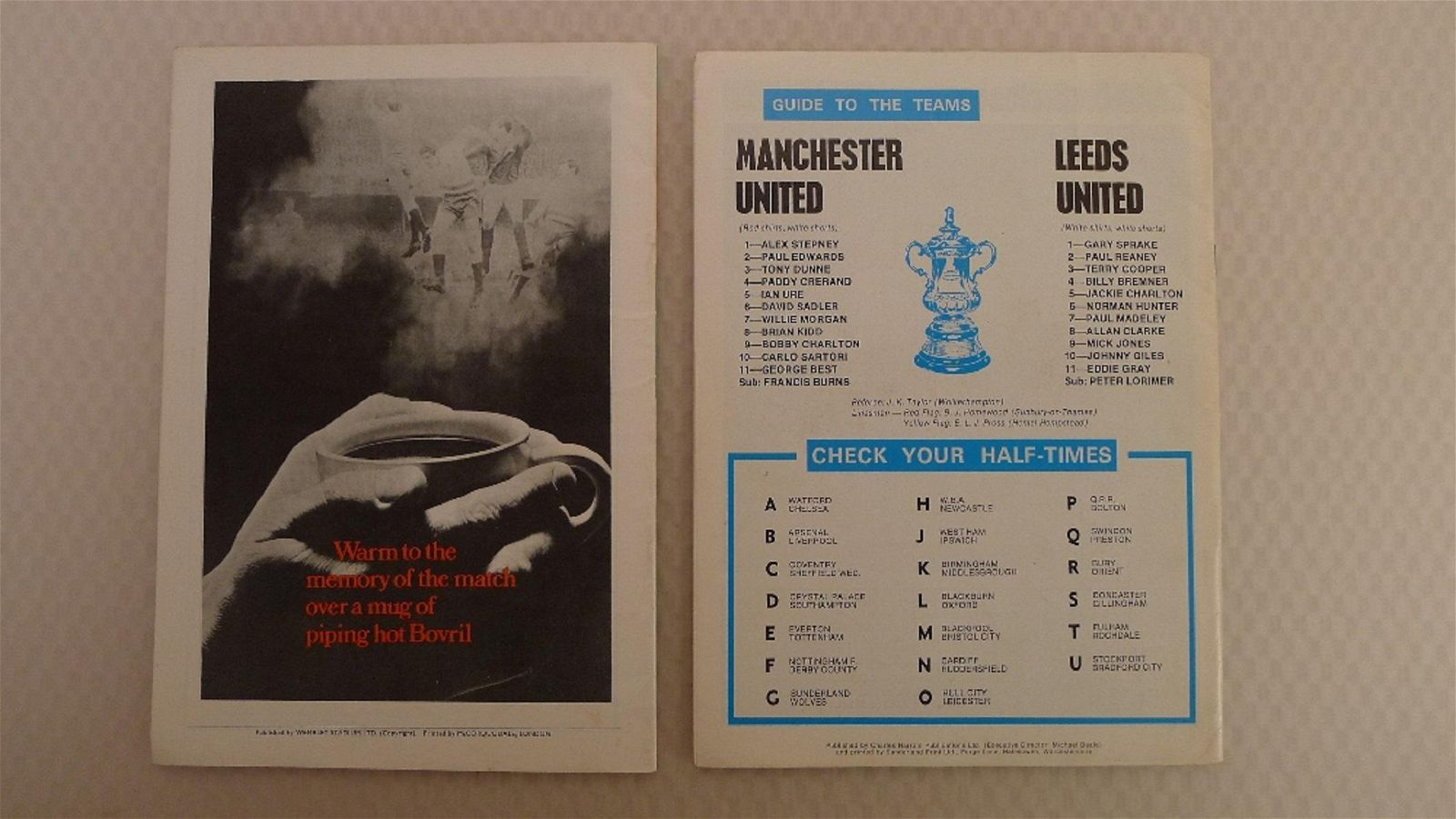 FA Cup football programmes FA Cup 1970 - 1 x Final and