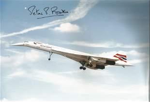 Concorde pilot Captain Peter Baker signed 12 x 8 inch