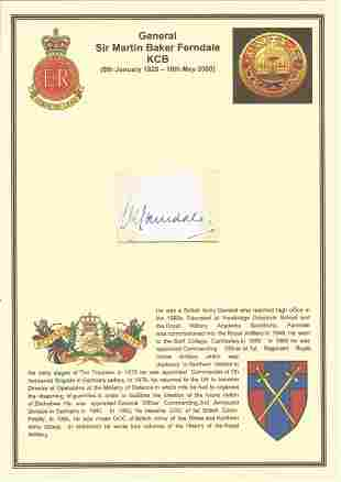 General Sir Martin Baker Ferndale KCB signed card. He