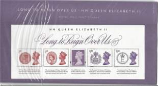 GB mint stamps Presentation Pack no 516 Long to Reign