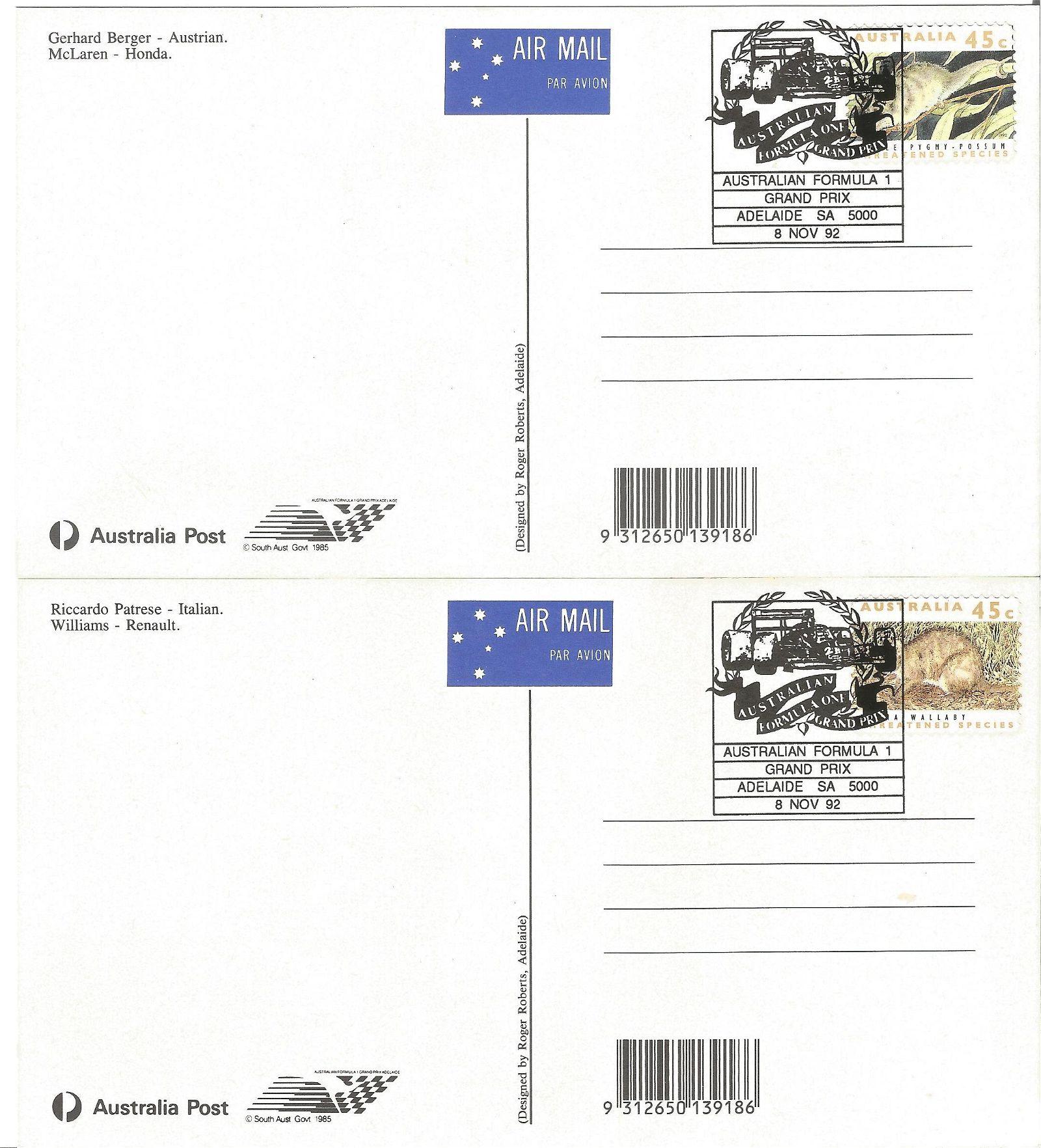 4 x Australian Formula 1 Grand Prix Air Mail Postcards