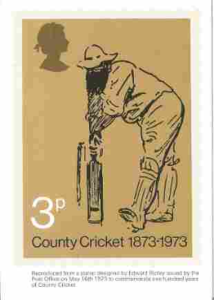 PHQ Card Number 1 Used, 3p County Cricket 1873-1973.