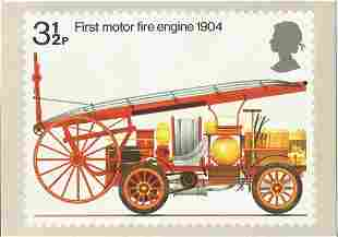 PHQ Card Number 6 Used, First Motor Fire Engine 1904